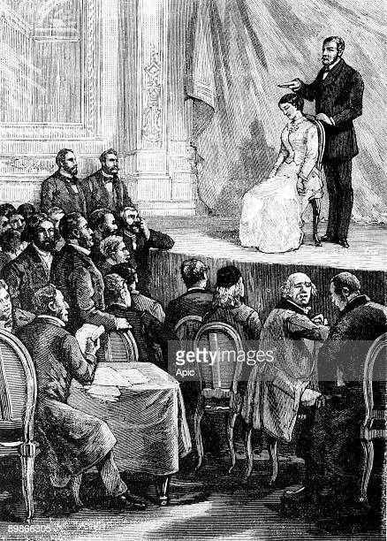 hypnosis session by Dr Durand at scientific press engraving 19th century