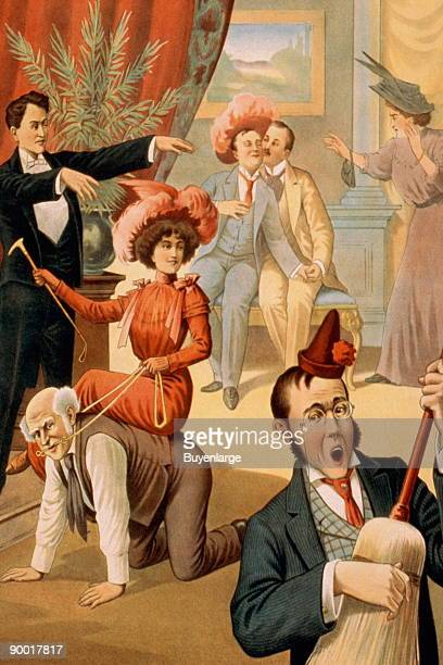 Hypnotist directing group of people to do unusual things woman riding man man playing broom like a guitar two men embracing Stock magic poster