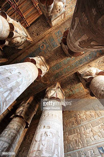 hypostyle hall in dendera temple egypt - karnak fotografías e imágenes de stock