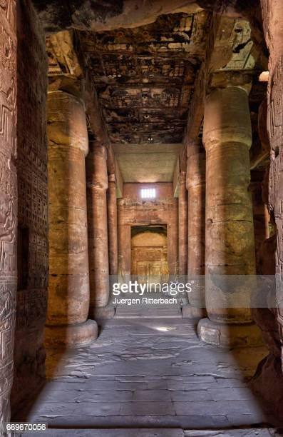 Hypostyle Hall with giant columns inside Temple of Seti I , Abydos