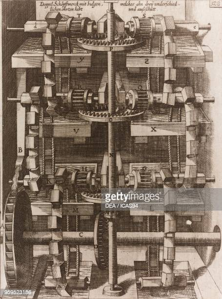 Hypothetical perpetual motion waterraising machine copperplate engraving from Theatrum Machinarum Novum Plate 128 by Georg Andreas Boeckler Coloniae...