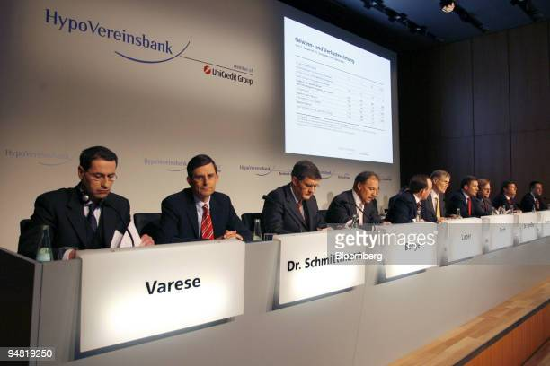 HypoVereinsbank members of the board are seen during the annual press conference in Munich Germany Thursday March 23 2006 HVB Group the German lender...