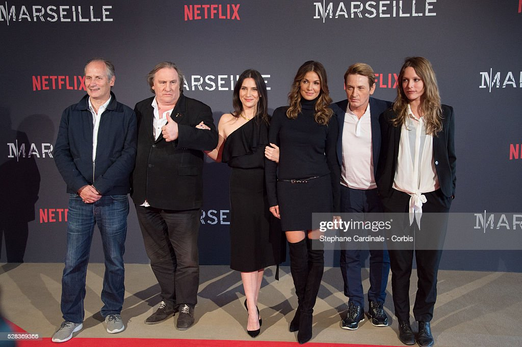 Hyppolite Girardot, Geraldine Pailhas, Gerard Depardieu, Nadia Fares , Benoit Magimel and Stephane Caillard attend the 'Marseille' Netflix TV Serie World Premiere At Palais Du Pharo In Marseille, on May 4, 2016 in Marseille, France.