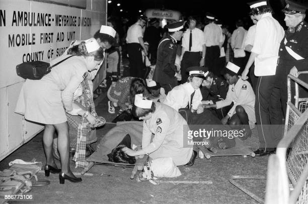 Hysterical Bay City Rollers fans outside the Odeon Hammersmith after the groups concert 1st June 1975