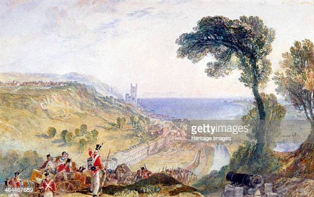 'Hythe Kent' 1824 View from a cliff top with infantrymen making their way uphill with cannon A defensive gun emplacement sits in the foreground