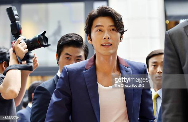 Hyun Bin attends his autograph aession for Mediheal at Myeongdong on August 21 2015 in Seoul South Korea