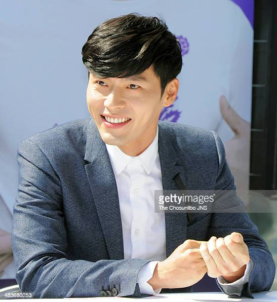 Hyun Bin attends the autograph session for 'Fighting Against Animal Testing Campaign' at Gwanghwamun on April 8 2014 in Seoul South Korea