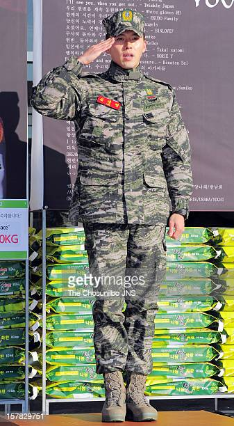 Hyun Bin is seen after being discharged from the military service at Headquarters Marine Corps on December 6 2012 in Gyeonggido South Korea