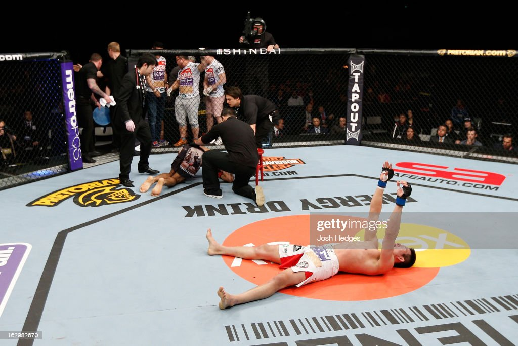 Hyun Gyu Lim reacts after knocking out Marcelo Guimaraes in their welterweight fight during the UFC on FUEL TV event at Saitama Super Arena on March 3, 2013 in Saitama, Japan.