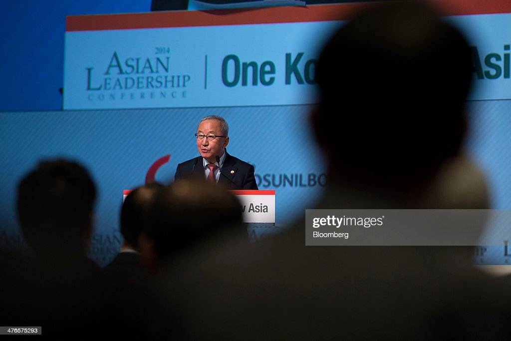 Hyun Oh Seok, South Korea's finance minister, speaks at the Asian Leadership Conference in Seoul, South Korea, on Tuesday, March 4, 2014. The conference runs from March 3-4. Photographer: SeongJoon Cho/Bloomberg via Getty Images