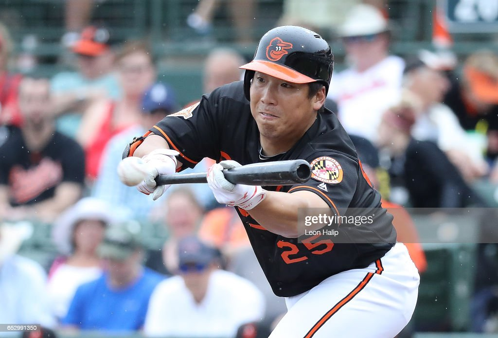 Hyun Soo Kim #25 of the Baltimore Orioles bunts the ball during the fourth inning of the Spring Training Game against the Philadelphia Phillies on March 13, 2017 at Ed Smith Stadium in Sarasota, Florida. Baltimore defeated the Philadelphia 6-4.
