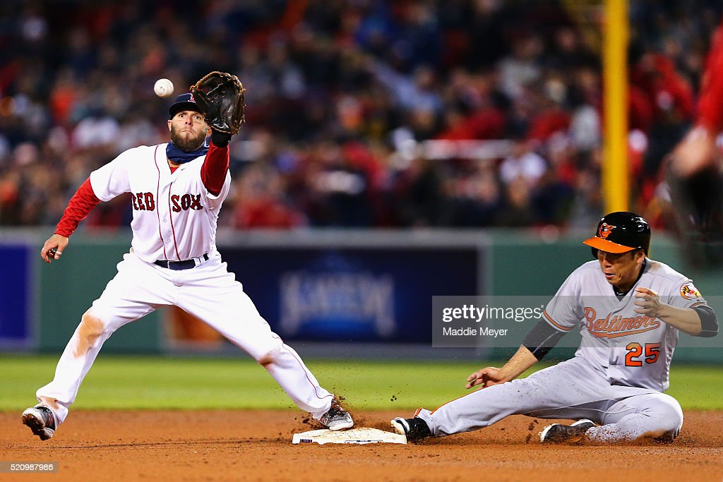 Hyun Soo Kim #25 of the Baltimore Orioles slides safely into second past Dustin Pedroia #15 of the Boston Red Sox during the fourth inning at Fenway Park on April 13, 2016 in Boston, Massachusetts.