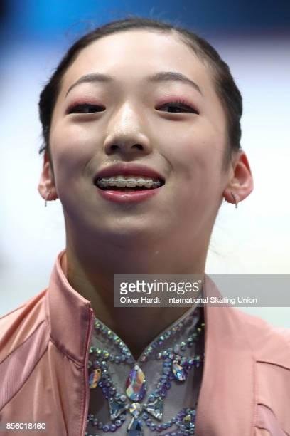 Hyun Soo Lee of Korea looks on prior to the Junior Ladies Free Skating Program during day four of the ISU Junior Grand Prix of Figure Skating at Dom...