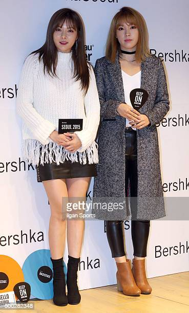 Hyuna and Jiyoon of 4Minute attend the Bershka flagship store opening event at MapoGu on November 20 2015 in Seoul South Korea