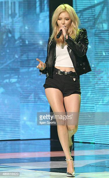 HyunA of 4minute performs onstage during the MBC Music 'Show Champion' at MBC Dream Center on August 26 2015 in Seoul South Korea