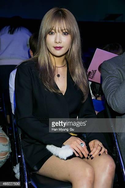 HyunA of South Korean girl group 4minute poses for photographs at the 'J Koo' show as part of HERA Seoul Fashion Week S/S 2016 at DDP on October 18...