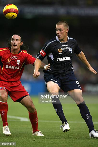 Hyundai A League 2007 Grand Final Telstra Dome Melbourne Victory player Daniel Allsop and Adelaide United player Angelo Costanzo 18th February 2007...