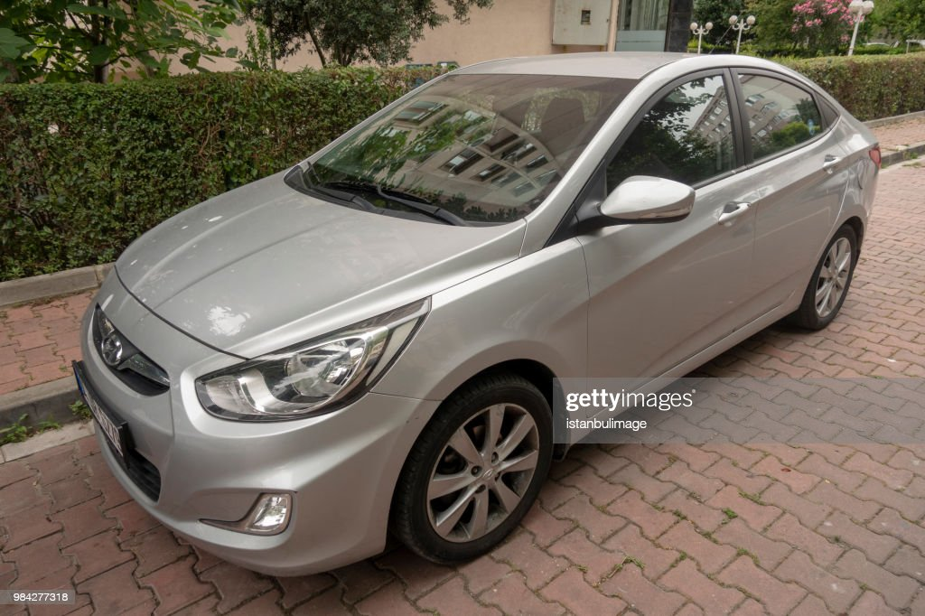 Hyundai Accent  parked on the street of Istanbul : Stock Photo