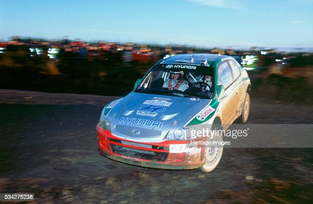 Hyundai Accent WRC with Juha Kankkunen at the wheel on the 2002 Network Q rally 2000