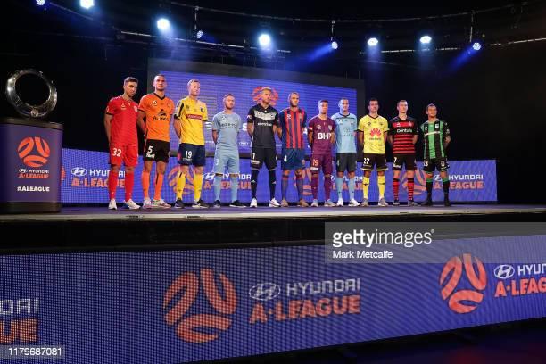 Hyundai ALeague players pose during the ALeague 201920 ALeague season launch at Max Watts on October 08 2019 in Sydney Australia