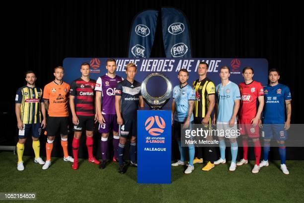 Hyundai ALeague players pose with the Hyundai ALeague Championship Trophy during the 2018/19 ALeague Season Launch at Fox Studios on October 15 2018...