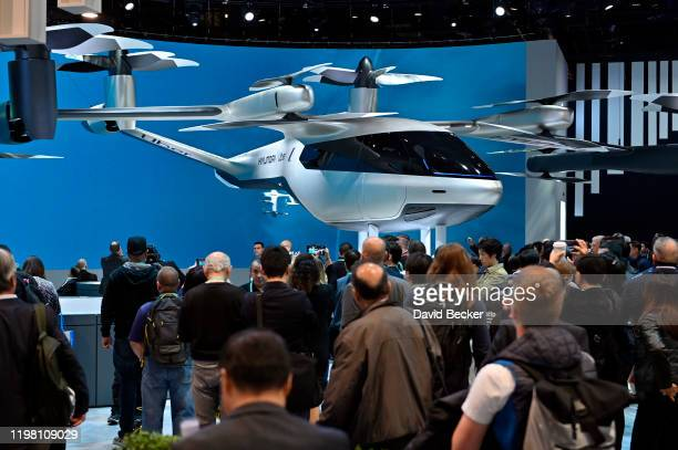 Hyundai and Uber's allelectric fullscale electric air taxi SAI is displayed during CES 2020 at the Las Vegas Convention Center on January 7 2020 in...