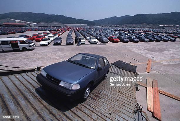 Hyundai cars ready for export to Europe and the USA at the Hyundai Motor Company in Ulsan