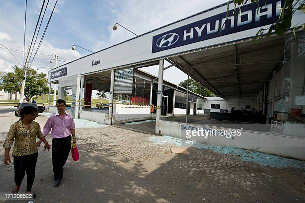 A Hyundai dealer vandalized by demonstrators during a protest against corruption and price hikes is seen in Belo Horizonte Brazil on June 23 2013...