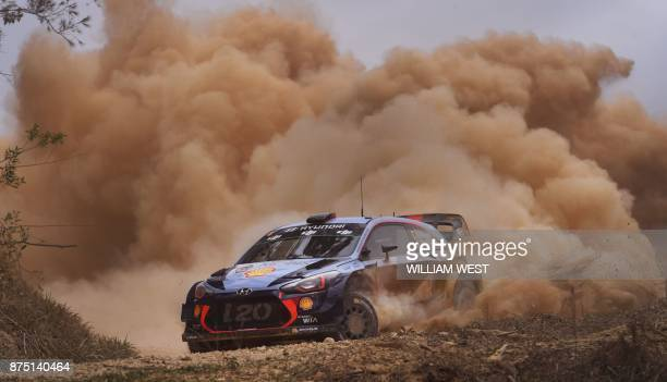 Hyundai driver Thierry Neuville of Belgium powers through a corner on the first day of World Rally Championship event Rally Australia near Coffs...