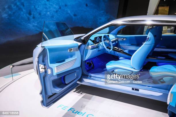 Hyundai FE Fuel Cell Concept on display during the second press day of the Geneva Motor Show 2017 at the Geneva Palexpo on March 8 2017 in Geneva...