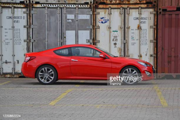 hyundai genesis coupe on a parking - hyundai stock pictures, royalty-free photos & images