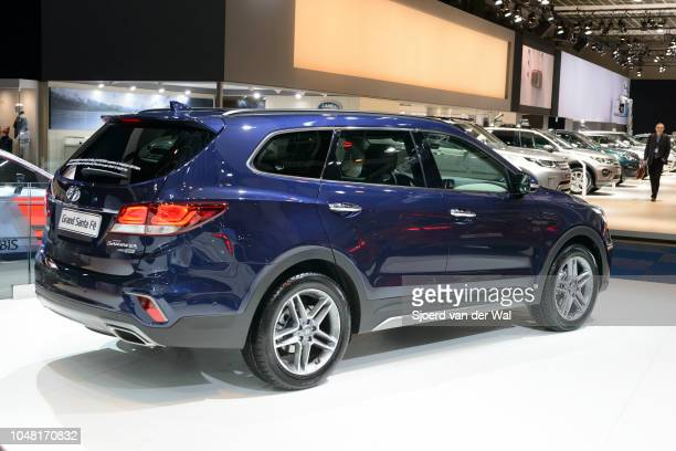 Hyundai Grand Santa Fe SUV car on display at Brussels Expo on January 13, 2017 in Brussels, Belgium. The Santa Fe is available as Grand Santa Fe and...