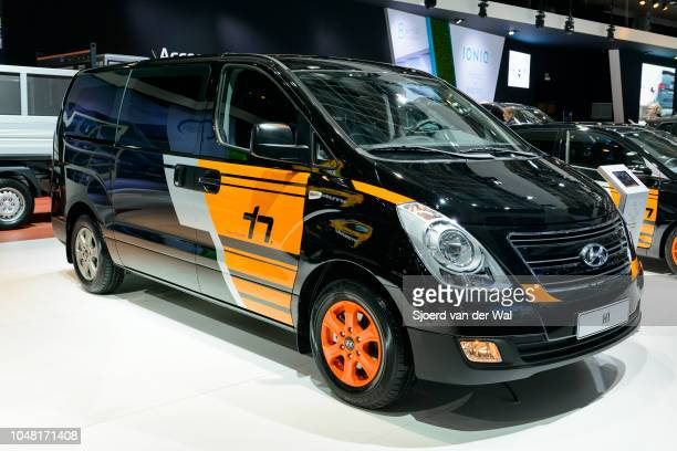 Hyundai H1 Thierry Neuville edition van light commercial vehicle on display at Brussels Expo on January 13, 2017 in Brussels, Belgium. The Hyundai...