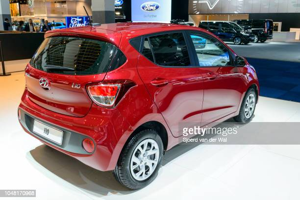 Hyundai i10 compact city hatchback car on display at Brussels Expo on January 13, 2017 in Brussels, Belgium. The Hyundai i10 is available with...