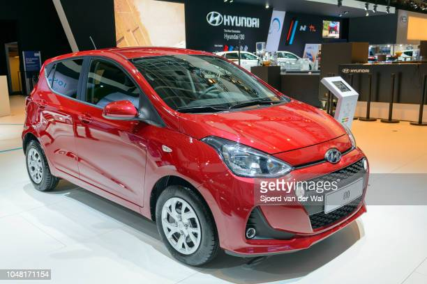 Hyundai i10 compact city hatchback car on display at Brussels Expo on January 13 2017 in Brussels Belgium The Hyundai i10 is available with various...