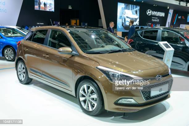 Hyundai i20 compact family hatchback car on display at Brussels Expo on January 13, 2017 in Brussels, Belgium. The Hyundai i20 is available with...