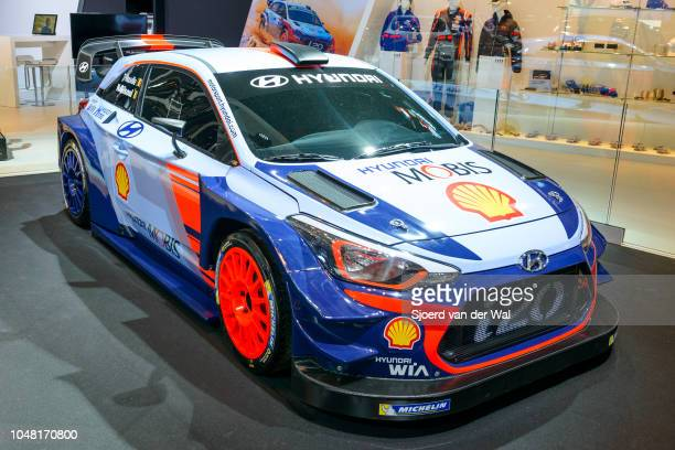 Hyundai i20 Coupe WRC rally car based on the i20 hatchback on display at Brussels Expo on January 13, 2017 in Brussels, Belgium. The i20 Coupe WRC...