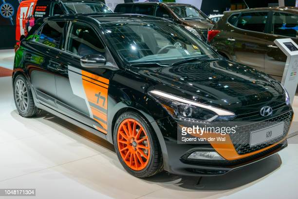 Hyundai i20 Thierry Neuville edition compact sporty family hatchback car on display at Brussels Expo on January 13, 2017 in Brussels, Belgium. The...