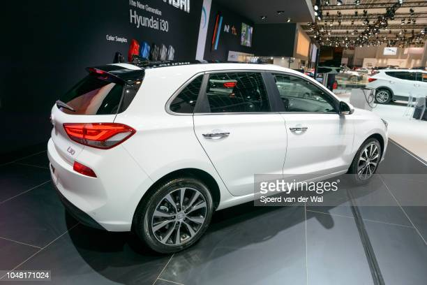 Hyundai i30 compact family hatchback car on display at Brussels Expo on January 13 2017 in Brussels Belgium The Hyundai i30 is available with various...