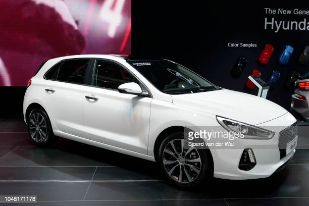 Hyundai i30 compact family hatchback car on display at Brussels Expo on January 13, 2017 in Brussels, Belgium. The Hyundai i30 is available with...