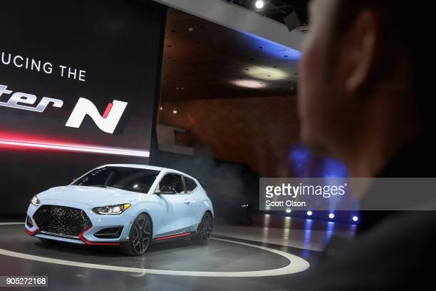 Hyundai introduces the 2019 Veloster N at the North American International Auto Show on January 15 2018 in Detroit Michigan The show is open to the...