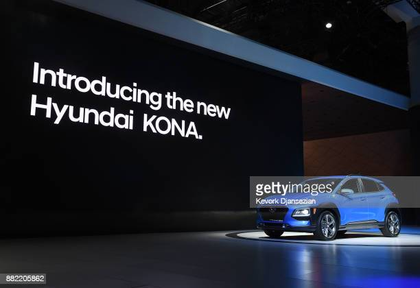 Hyundai introduces the new Kona SUV during the auto trade show AutoMobility LA at the Los Angeles Convention Center November 29 in Los Angeles...