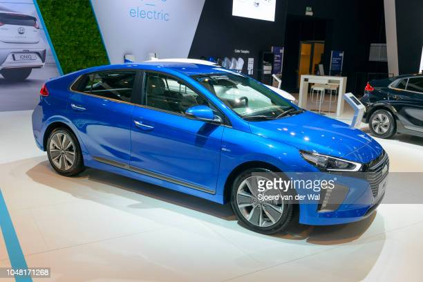 Hyundai Ioniq electric five-door liftback car on display at Brussels Expo on January 13, 2017 in Brussels, Belgium. The Hyundai Ioniq is available as...