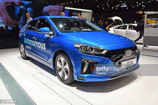 hyundai ioniq electric on the motor show - autonomous technology stock photos and pictures