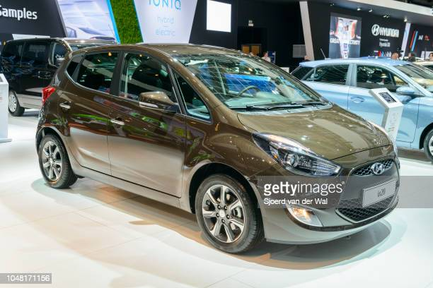 Hyundai ix20 compact crossover MPV family hatchback car on display at Brussels Expo on January 13 2017 in Brussels Belgium The Hyundai ix20 is...