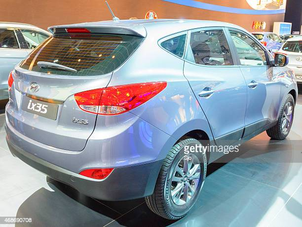 hyundai ix35 crossover suv rear view - 2015 stock pictures, royalty-free photos & images