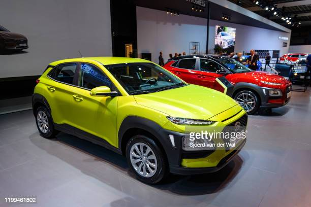 Hyundai Kona compact crossover suv on display at Brussels Expo on January 9 2020 in Brussels Belgium