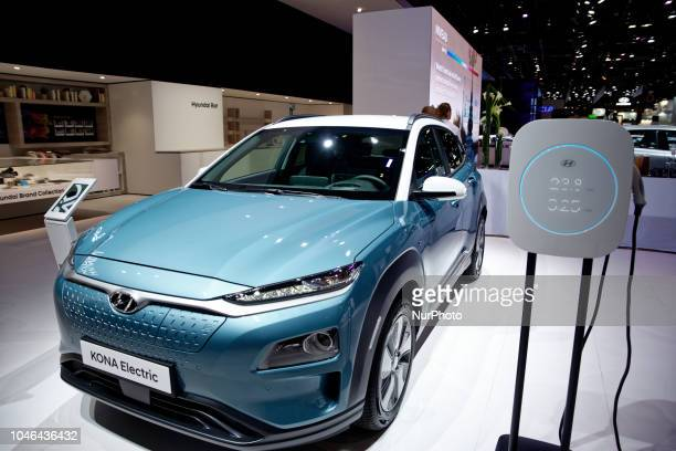 Hyundai Kona Electric car during Mondial Paris Motor Show in Paris France on 4 October 20178 The Mondial Paris Motor Show Paris 2018 evolves with the...