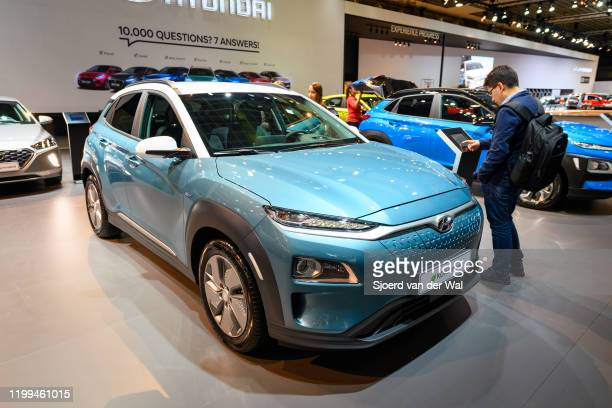 Hyundai Kona Electric compact crossover suv on display at Brussels Expo on January 9 2020 in Brussels Belgium