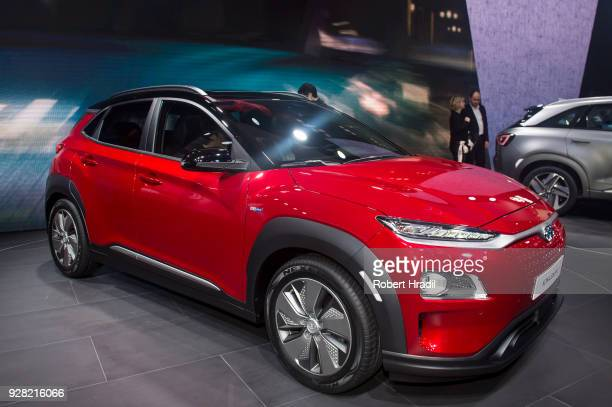 Hyundai Kona Electric is displayed at the 88th Geneva International Motor Show on March 6 2018 in Geneva Switzerland Global automakers are converging...